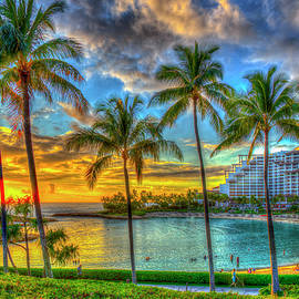 Oahu HI Four Seasons Resort 2 Ko Olina Sunset Lagoon Landscape Seascapes Art  by Reid Callaway