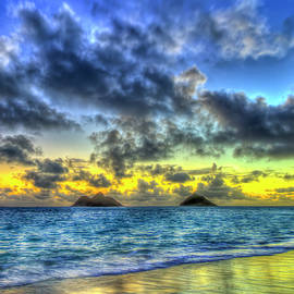 Oahu HI Lanikai Beach Sunrise Blues Mokulua Islands Seascape Art by Reid Callaway