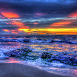 Oahu HI North Shore Red Reflections Sunset Pacific Ocean Seascape Art by Reid Callaway