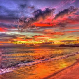 O'ahu HI Tracks Beach Red Reflections Sunset Pacific Ocean Seascape Art by Reid Callaway