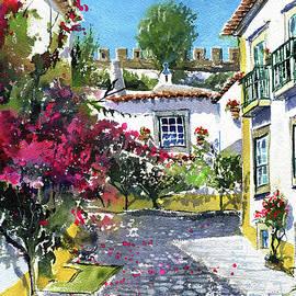 Obidos Portuguese Village Painting by Dora Hathazi Mendes