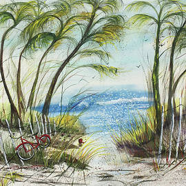 Watercolor Delray Dunes and Palm Trees by Catherine Ludwig Donleycott