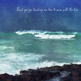 Ocean Quote Waves in Hawaii Watercolor Teal Blue Water and Surf