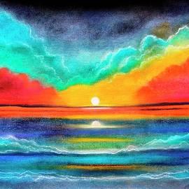 Ocean Sunset colorful pastel painting  by Manjiri Kanvinde