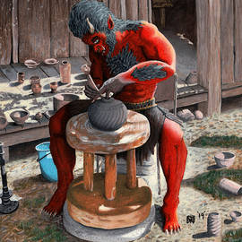 Ogre Using Pottery Wheel by Ted Helms