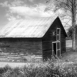 Old Barn in Wildflowers in Black and White by Debra and Dave Vanderlaan