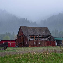 Old Barn On A Foggy Day by Jeff Swan