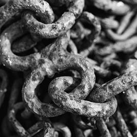 Old Chain Black And White Abstract by Debbie Oppermann