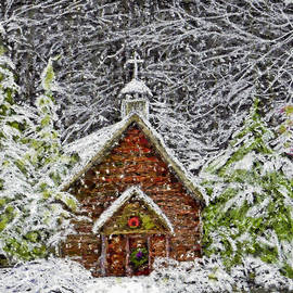 Old Country Church Snow Scene by Sandi OReilly