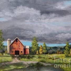 Old Farm Days with Pond by Danett Britt