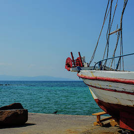 Old Fishing Boat in Aegina Harbour by Cassi Moghan
