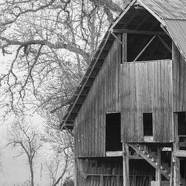 Old Hay Barn in the Fog Black and White  by Catherine Avilez
