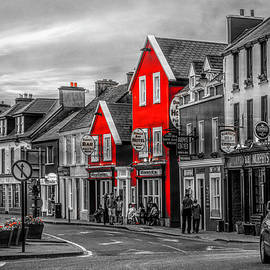 Old Irish Downtown The Dingle Peninsula Black White and Red by Debra and Dave Vanderlaan