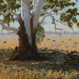 Old Mernda Gum oil painting by Alison A Murphy