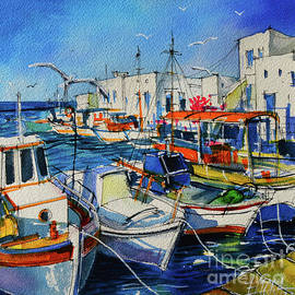 OLD PORT OF NAOUSSA PAROS ISLAND GREECE watercolor painting Mona Edulesco by Mona Edulesco