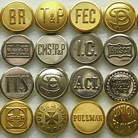 Old Railroad Uniform Buttons by Robert Tubesing