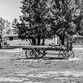 Old Red Barn and Hay Wagons - Black And White by Gene Parks
