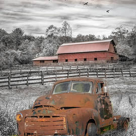Old Rusty in the Farm Pastures Black White and Red by Debra and Dave Vanderlaan
