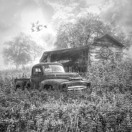 Old Rusty in the Wildflowers Black and White by Debra and Dave Vanderlaan