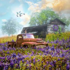 Old Rusty in the Wildflowers by Debra and Dave Vanderlaan