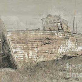 Old Ship Sketch, Nautical Sailing Vessel Drawing by Amusing DesignCo
