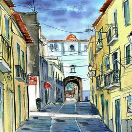 Old Town of Setubal - Portugal Painting by Dora Hathazi Mendes