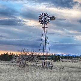 Old Windmill at Sunset  by Jerry Abbott