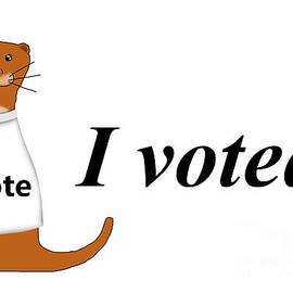 Oliver The Otter I Voted Sticker by Colleen Cornelius
