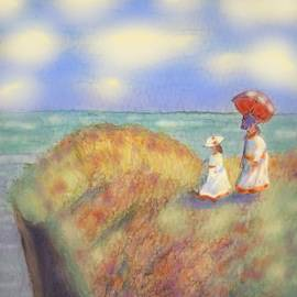 On The Cliff with a Parasol by Angela Davies