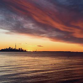 On the Verge of Sunrise - Dramatic Cloudscape over Toronto Skyline by Georgia Mizuleva