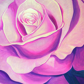 One Pink Rose, Acrylic Painting by Mick Flodin