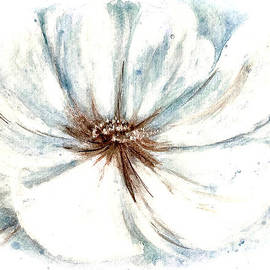 Open Peony Abstract in White and Blue  by Gitta Glaeser