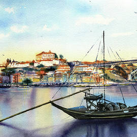 Oporto Portugal Painting by Dora Hathazi Mendes