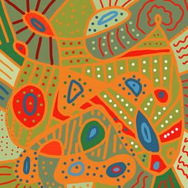 Orange Doodle Pattern Art