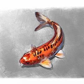 Orange Koi Fish Sketch by Scott Wallace Digital Designs