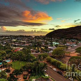 Orange Panoramic Sunset over Hahaione Valley by Phillip Espinasse
