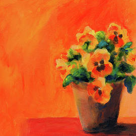 Orange pansies by Karen Kaspar