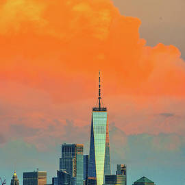 Orange Sherbert Sundown - One World Trade by Regina Geoghan