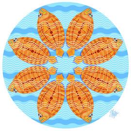 Orange Striped Flounder Mandala by Tim Phelps