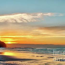 Orange Sunset At Cape Meares Beach by Beautiful Oregon