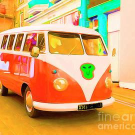 Orange Surf Bus at Tenby by Mark Haynes