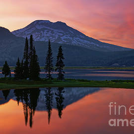 Oregon's South Sister Reflecting in Sparks Lake at Sunset by Tom Schwabel