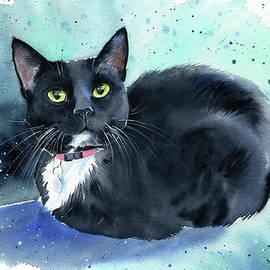 Oreo Tuxedo Cat Painting by Dora Hathazi Mendes