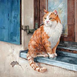 Oscar - Cat in Window painting by Annie Troe