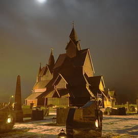 Obscured Moon over the Heddal Stave Church by Tony Lee