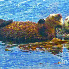 Otters Mother and Baby by Jerome Stumphauzer