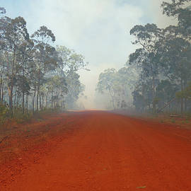 Outback Road into Bush Fire by Maryse Jansen