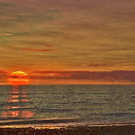 Outer Banks Sunset Over Blue Water Dry Brush by Christopher Hignite