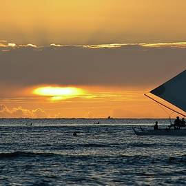 Outrigger Sunset Sail by Heidi Fickinger