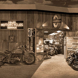 Outside The Old Motorcycle Shop - Spia by Mike McGlothlen